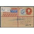 AUSTRALIA - 1960 2/- blue Flower on 2/5 QEII registered envelope from Koolymilka, SA – ACSC # 367+RE41C