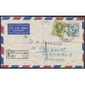AUSTRALIA - 1960 2/- blue & 2/3 green/yellow Flowers on a cover from Koolymilka, SA – ACSC # 367+368