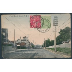 AUSTRALIA - 1918 1d deep rosine KGV Head (shade = G70) plus a ½d green on a postcard – ACSC # 72J+65C