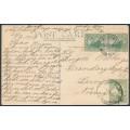 AUSTRALIA / WA - 1913 postcard to Norway with mixed States plus Kangaroo franking