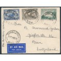 AUSTRALIA - 1934 3d MacArthur, 6d brown Kingsford Smith & 3d Airmail on a cover to Switzerland