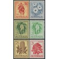 AUSTRALIA - 1959-1964 Flowers set of 6, MNH - SG #  322-326 + 324a