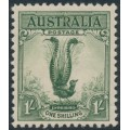 AUSTRALIA - 1932 1/- green Lyrebird, mint never hinged – SG # 140