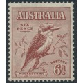 AUSTRALIA - 1932 6d red-brown Kookaburra, mint hinged – SG # 146