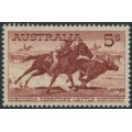 AUSTRALIA - 1961 5/- purple-brown Cattle on cream paper, mint never hinged – ACSC # 373A