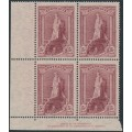 AUSTRALIA - 1948 5/- reddish lake Robes on thin paper, imprint block of 4, MNH – ACSC # 213z