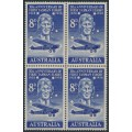 AUSTRALIA - 1958 8d blue Kingsford Smith airmail in a block of 4, MNH – SG # 304