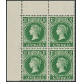 AUSTRALIA - 1955 3½d green Centenary of SA Stamps in a block of 4, MNH – SG # 288