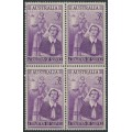 AUSTRALIA - 1955 3½d violet Nursing in a block of 4, MNH – SG # 287