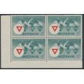 AUSTRALIA - 1955 3½d green/red YMCA in a block of 4, MNH – SG # 286
