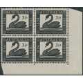 AUSTRALIA - 1954 3½d black WA Stamp Centenary in a block of 4, MNH – SG # 277