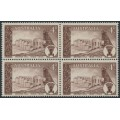 AUSTRALIA - 1958 4d brown Broken Hill in a block of 4, MNH – SG # 305