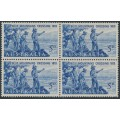 AUSTRALIA - 1963 5d blue Crossing of the Blue Mountains in a block of 4, MNH – SG # 352