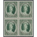 AUSTRALIA - 1960 5d green Queensland Stamp Anniversary in a block of 4, MNH – SG # 337