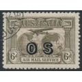 AUSTRALIA - 1931 6d dull brown Kingsford Smith Airmail, overprinted OS, CTO – ACSC # 144(OS)w