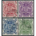 AUSTRALIA - 1949-1950 5/- to £2 Coat of Arms set of 4, used – SG # 224a-224d