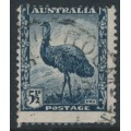 AUSTRALIA - 1942 5½d slate-blue Emu definitive, misplaced perforations, used – SG # 208
