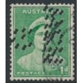 AUSTRALIA - 1938 1d green Queen Elizabeth, double G NSW perfin, used – SG # 180