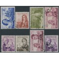 AUSTRALIA - 1963-1965 4/- to £2 Navigators set of 8, used – SG # 355-360 + 358a + 359a