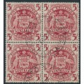 AUSTRALIA - 1949 5/- claret Coat of Arms in a block of 4, used – SG # 224a