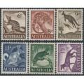 AUSTRALIA - 1959-1962 6d to 1/2 Australian Animals set of 6, MNH – SG # 316-321