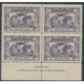 AUSTRALIA - 1931 6d violet Kingsford Smith airmail, imprint block of 4, MNH – ACSC # 143z