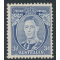 AUSTRALIA - 1938 3d blue KGVI definitive, perf. 13½:14 (die II, thick paper), MNH – SG # 168c