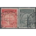 AUSTRALIA - 1935 2d red & 1/- black ANZAC Anniversary set of 2, used – SG # 154-155