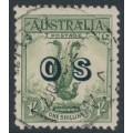 AUSTRALIA - 1932 1/- green Lyrebird overprinted OS, used – SG # O136