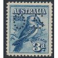 AUSTRALIA - 1928 3d blue Kookaburra, perforated OS, MH – SG # O113