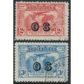 AUSTRALIA - 1931 2d red & 3d blue Kingsford Smith airmail overprinted OS, CTO – SG # O123-O124