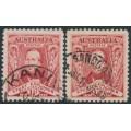 AUSTRALIA - 1930 1½d Sturt Centenary shades: carmine-red & carmine-lake, used – ACSC # 139A+139B