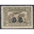 AUSTRALIA - 1931 6d dull brown Kingsford Smith Airmail, overprinted OS, MNH – ACSC # 144(OS)