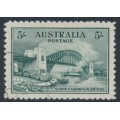 AUSTRALIA - 1932 5/- blue-green Sydney Harbour Bridge, 'retouch over left centre of the Bridge', CTO – ACSC # 148e