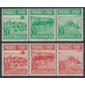 AUSTRALIA - 1953 3d green and 3½d red Produce Food strips of 3, used – SG # 225a+258a