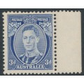 AUSTRALIA - 1938 3d blue KGVI definitive, perf. 13½:14 (die II, thick paper), MH – SG # 168c