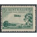 AUSTRALIA - 1929 3d green Airmail (vertical mesh paper), MNH – ACSC # 134