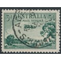 AUSTRALIA - 1929 3d green Airmail (vertical mesh paper, booklet stamp), used – ACSC # 135