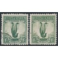 AUSTRALIA - 1932 1/- green & 1/- yellow-green Lyrebird, CTO – ACSC # 145Aw+145Bw