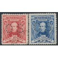 AUSTRALIA - 1930 1½d red & 3d blue Sturt set of 2, perforated OS, CTO – SG # O121-O122