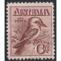 AUSTRALIA - 1914 6d maroon engraved Kookaburra, CTO – ACSC # 60Aw