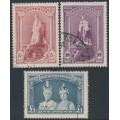 AUSTRALIA - 1938 5/- to £1 Robes set of 3 on thick paper, used – SG # 176-178