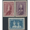 AUSTRALIA - 1948 5/- to £1 Robes set of 3 on thin paper, mint hinged – SG # 176a-178a