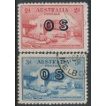 AUSTRALIA - 1932 2d red & 3d blue Sydney Harbour Bridge, overprinted OS, used – SG # O134-O135