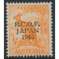 AUSTRALIA - 1946 ½d orange Kangaroo overprinted BCOF, MNH – SG # J1