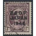 AUSTRALIA - 1946 1d purple-brown Queen Elizabeth overprinted BCOF, used – SG # J2
