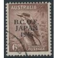 AUSTRALIA - 1946 6d dull brown Kookaburra overprinted BCOF, used – SG # J4