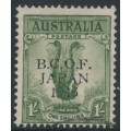 AUSTRALIA - 1946 1/- dull green Lyrebird overprinted BCOF, used – SG # J5