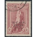 AUSTRALIA - 1947 5/- claret Robes on thick paper overprinted BCOF, used – SG # J7