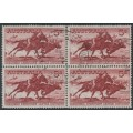 AUSTRALIA - 1964 5/- bright red-brown Cattle on white paper in a block of 4, used – SG # 327a